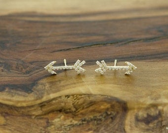 14KT Gold CZ Arrow Stud Earrings