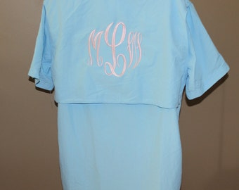 Monogrammed Fishing Shirts-- --SIZE LARGE---Short  Sleeve- --- Cool Summer Shirt /Swimsuit Cover Up/ Bridesmaid Gift!
