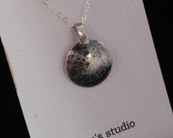 Handcrafted Moon-Like Sterling Silver Pendant- IN STOCK
