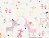 Deer Fabric, Timeless Treasures Flora & Fawn, Fun C4624 Dove, Baby Quilt Fabric, Girls Fabric, Pastel Deer, Pinks and Gray Nursery Decor