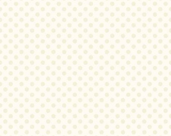 Cream Dot Fabric, Riley Blake C420-01 Cream Small Dots, Tone on Tone Cream Polka Dot Fabric, 100% Cotton, Quilt Fabric