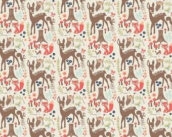 Woodland Spring Fabric C4990 Cream, Riley Blake, Woodland Animal Fabric, Baby & Toddler Fabric, Fawn Quilt Fabric, Nursery Decor, Cotton