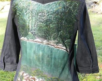 Hand Painted Denim Shirt with River Scene