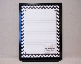 Black/White Chevron Whiteboard Message Center / Reusable Note Board - Framed Large Dry Erase Memo Board - Custom Command Center Organizer