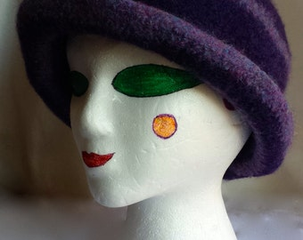 Purple and Lavender Felted Hat