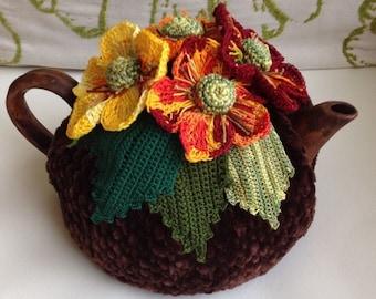 Crochet tea cozy brown tea cover autumn flower tea cosy tea warmer crochet flower green kitchen accessory crochet high tea accessory décor