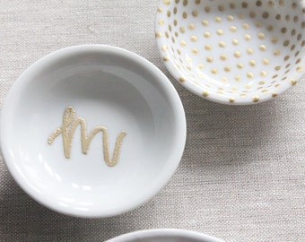 jewelry trinket dish // custom letter