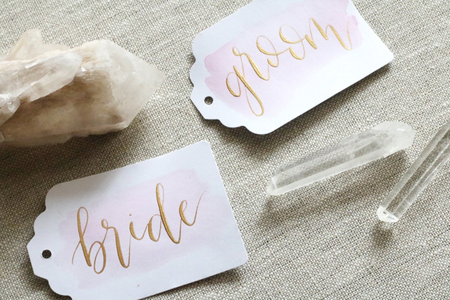 set of 10 watercolor calligraphy tags with gold ink | escort cards | place cards | seating assignments