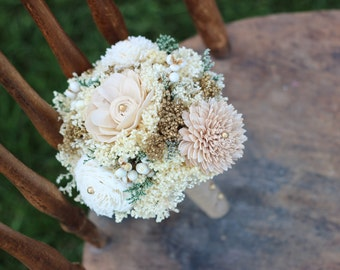 Romantic Wedding Bouquet, Bridesmaids Bouquet,Tan,Ivory,Gold Sola Flower Bouquet,Keepsake,Alternative Bouquet