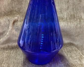 Cobalt Blue Ribbed  Glass Vase, Modern Cobalt Blue Vase, Ribbed Vase, Glass Vase, Cobalt Blue Glass