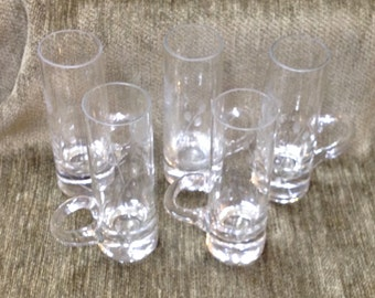 Etched Glass Cordials, Cordials with Handle, Glass Etched Cordials, Set of Five
