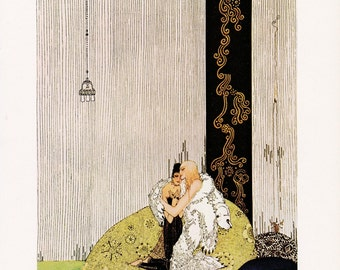 Kay Nielsen vintage art nouveau print illustration Norwegian folk tale fairy tale The Blue Belt home decor 8.5x11.5 inches