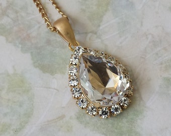 Swarovski Crystal Necklace Swarovski Crystal Necklace Swarovski Rhinestone Necklace Vintage Crystal Jewelry Clear Crystal Teardrop Pendant