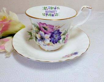 Flower of the Month January Tea Cup and Saucer / Fine Bone China / Lavendar Pink  Flowers / Enesco 1984 ALifetimeofVintagetage