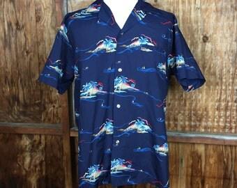 Vintage, VTG, 70's Kole Kole Hawaiian Island Button Up Shirt Sz. Large Made in Hawaii USA