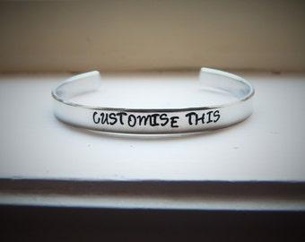 Customise This, Hand Stamped Aluminium Cuff Bracelet