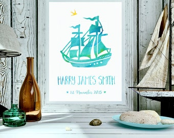 Personalised Baby print, pirate ship art, birth subway art, baby birth date print baby stats, personalised print (A4 unframed)