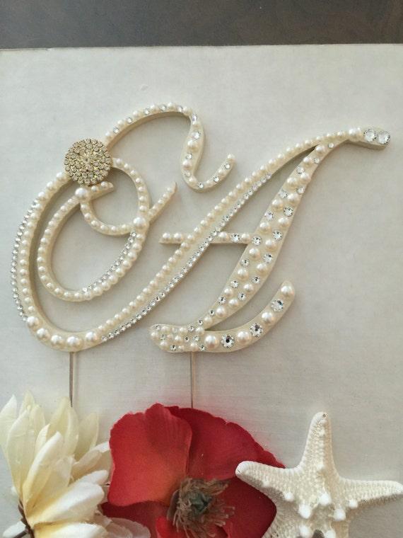 monogram wedding cake topper pearl cake topper w   swarovski