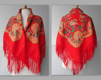 70s Red Vintage Shawl With Fringes