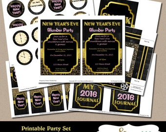 New Year's Eve Slumber Party Printables