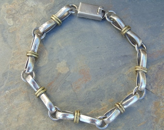 Vintage Mexican Sterling and Brass Figure Eight Link Western Bracelet