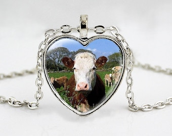Red and White Hereford Cow - Cattle Breed Necklace - 4H - FFA - Show Cattle - Cowgirl - Western Wear - Heart Pendant Necklace