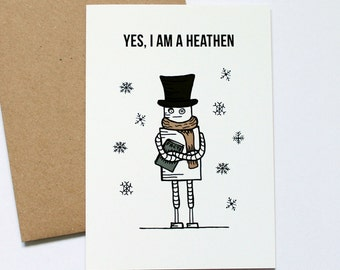 Robot Winter Solstice Card, Atheist Card, Cute Greeting Card, Secular Holiday Card, Funny Holiday Card, Heathen Card