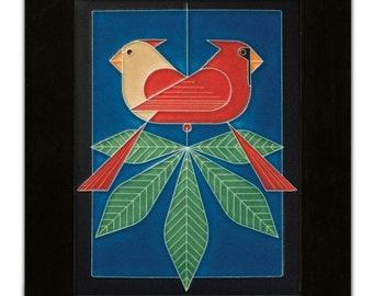 "Motawi tile ""Cardinals Consorting"" Blue 6"" x 8"""