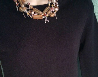 """17"""" Gold & Brown Braided Necklace. Dripping Sterling Silver Chains, Frosted- Lampwork Glass, Afghani Copal Amber. free US ship 199.00"""