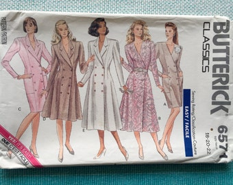 1980s Butterick 6571 EASY Sewing Pattern Ladies Misses Double Breasted Notched Collar Dress Trench Coat Fitted Size 18-20-22 Bust 40-42-44