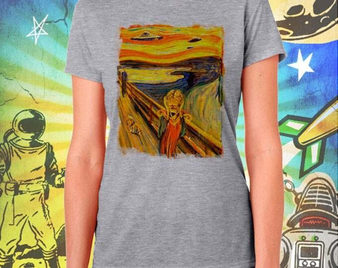 "Mars Attacks / Edvard Munch's ""The Scream"" meets ""Mars Attacks"" / Women's Gray Performance T-Shirt"