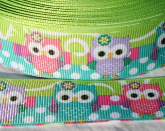 Green Owl Ribbon 1 Inch Grosgrain Ribbon by the Yard for Hairbows, Scrapbooking, and More!!