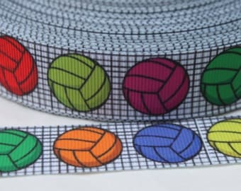 Volleyball 7/8 inch Grosgrain Ribbon by the Yard for Hairbows, Scrapbooking, and More!!