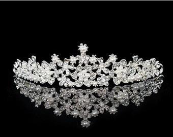 Bridal Tiara Headband - Crystal Rhinestone Pearls