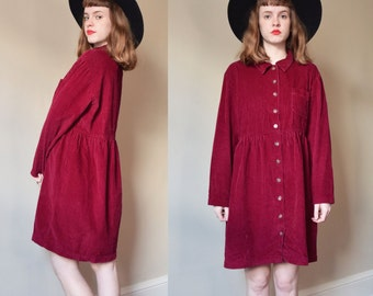 90s Raspberry Corduroy Babydoll Dress // 1990s Normcore Grunge Cotton Frock // S M