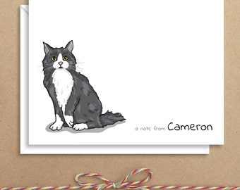 Cat Note Cards - Folded Note Cards - Personalized Children's Stationery - Animal Thank You Notes - Illustrated Note Cards