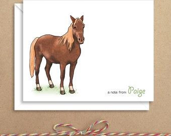 Horse Note Cards - Folded Note Cards - Personalized Children's Stationery - Thank You Notes - Illustrated Note Cards