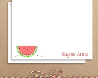 Watermelon Flat Notes - Watermelon Stationery - Childrens Thank You Cards- Illustrated Note Cards