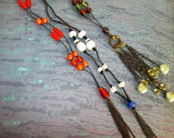 Beaded Necklace with Tassles
