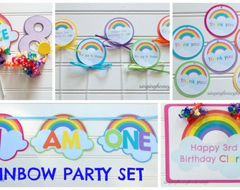 Over The Rainbow Birthday Party Package, Rainbow Party Decorations, I Am  One Rainbow Party