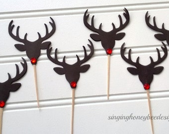 Red nosed reindeer cupcake toppers, Christmas cake toppers, Christmas party, Holiday party, Reindeer food picks, classroom treat toppers