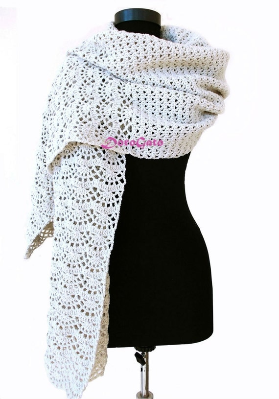 Crochet shawl pattern stole pattern woman rectangle by ...