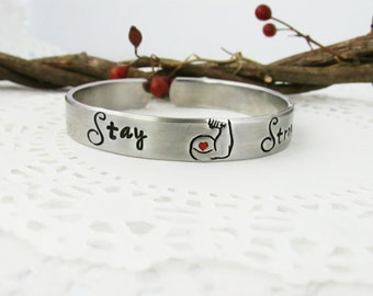 """Stay Strong Cuff Bracelet, Hand Stamped Jewelry, Strong Arm, Strength, Inspirational, 7"""", Larger Wrist, Personal Message, Personalized, Gift"""
