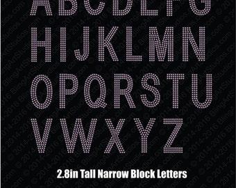 rhinestone transfer 28 alphabet heat transfers narrow block rhinestone iron on letters block letters personalize narrow block