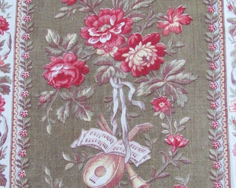 Delicious panel of vintage French fabric~Rose filled baskets & bouquets, ribbons, lutes... c1930s~Beautiful projects