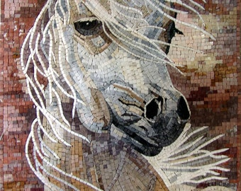 White Horse Portrait Mosaic Mural  Wall Art. MA265