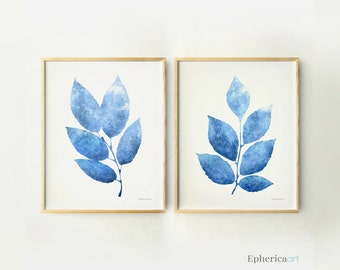 Royal blue wall art Royal blue decor, Blue posters Blue living room decor, Blue decoration, Leaves wall prints 11x14 Epherica Art Printables