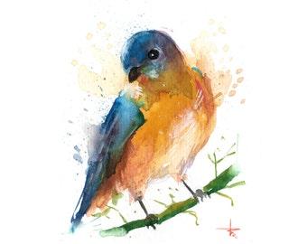 Eastern Bluebird II - 5.5 x 4.5 in - ORIGINAL Watercolor, Birds, UNFRAMED, Painting by Bruno M Carlos