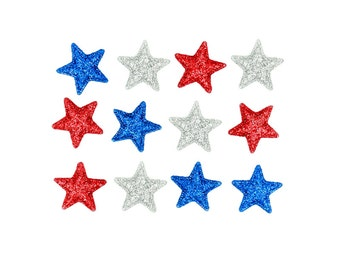 4th of July Star Buttons Jesse James Kaboom Red Silver Blue Glitter Patriotic American Hero Summer Outdoors USA Flag Color Military Mom Gift