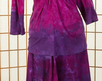 "PLUS size Asymmetrical ""Fay"" Skirt Purple, Fushia Pink & Lavender 100% Cotton Hand Dyed READY to SHIP"